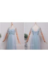 Elegant A Line Sweetheart Corset Cap Sleeve Pleated Light Blue Tulle Bridesmaid Evening Dress