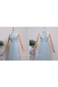 Elegant A Line Halter Corset Pleated Light Blue Tulle Bridesmaid Evening Dress