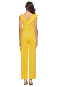 V Neck Ruffle Yellow Stretch Evening Jumpsuit For Women
