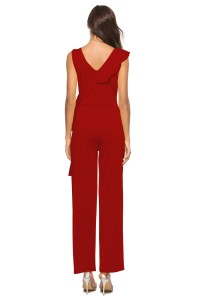V Neck Ruffle Red Stretch Evening Jumpsuit For Women