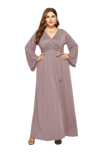 V Neck Long Sleeve Taupe Jersey A Line Spring Fall Plus Size Woman Clothing Maxi Casual Dress