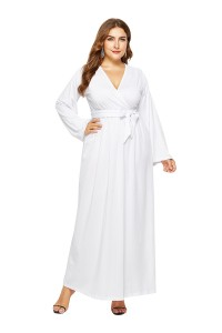 V Neck Long Sleeve White Jersey A Line Spring Fall Plus Size Woman Clothing Maxi Casual Dress