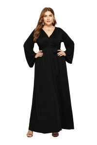 V Neck Long Sleeve Black Jersey A Line Spring Fall Plus Size Woman Clothing Maxi Casual Dress