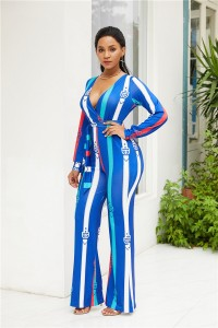 V Neck Long Sleeve Wide Leg Pants Blue Woman Clothing Striped Jumpsuit With Waist-tie