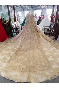 Ball Gown Off The Shoulder Long Sleeve Crystal Beaded Gold Lace Wedding Dress