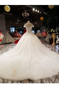 Ball Gown Sweetheart Off The Shoulder Corset Crystal Beaded Ivory Lace Wedding Dress