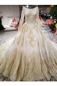 Ball Gown Boat Neckline Long Sleeve Corset Crystal Beaded Light Gold Lace Wedding Dress