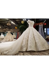 Gorgeous Ball Gown Boat Neckline Cap Sleeve Corset Pearl Beaded Ivory Lace Wedding Dress