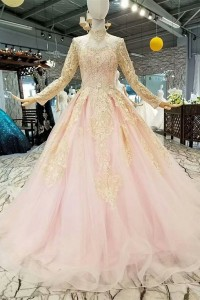 Modest Ball Gown High Neck Long Sleeve Corset Beaded Gold Lace Pink Tulle Wedding Dress