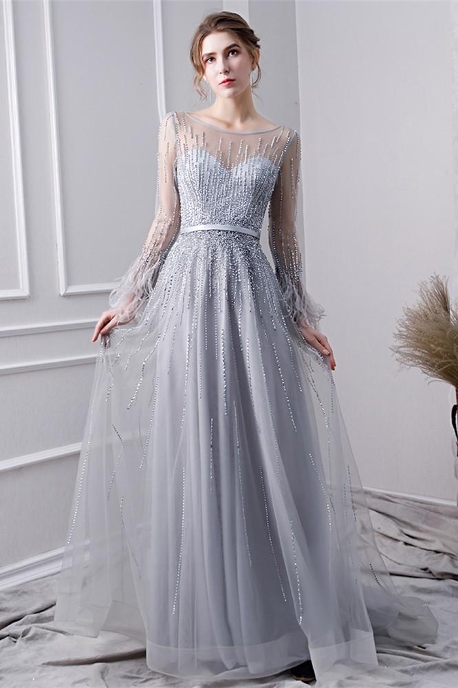 Long Beaded V-Neck Open Back Prom Dress at PromGirl.com