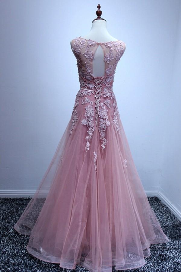 A Line Bateau Neck Open Back Long Light Pink Tulle Lace ...