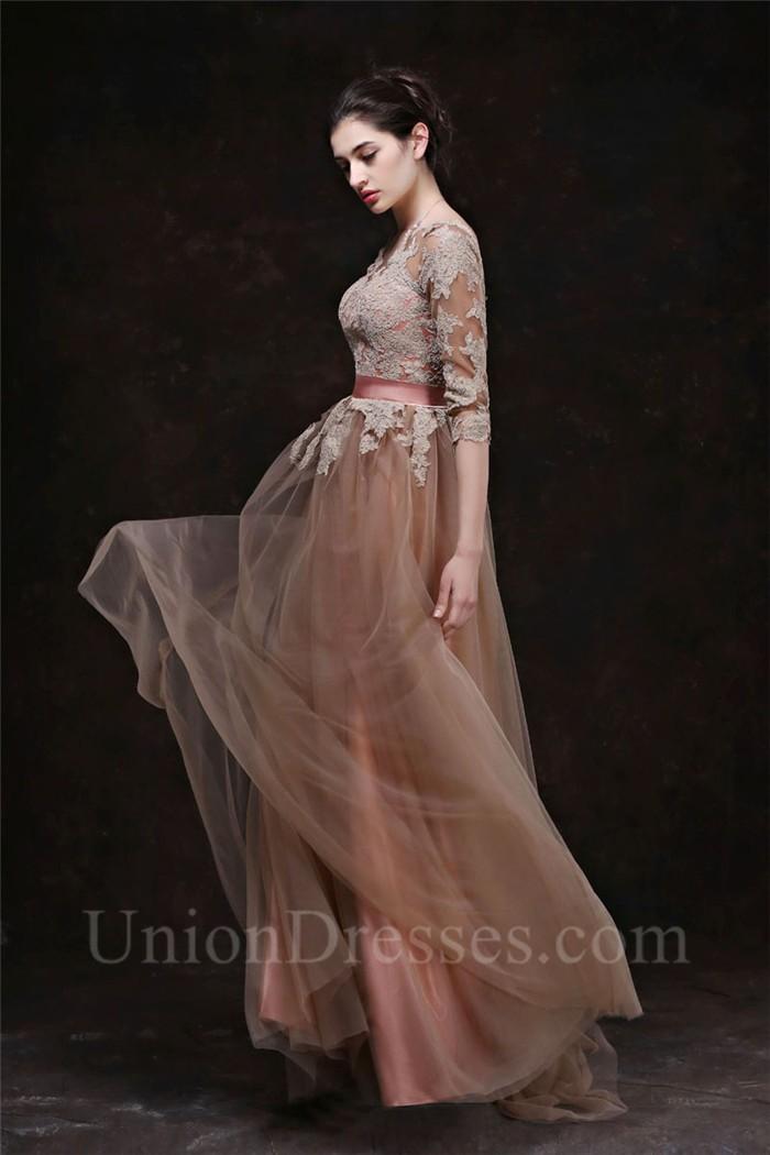 A Line Bateau Neckline Long Brown Tulle Lace Evening Prom ...