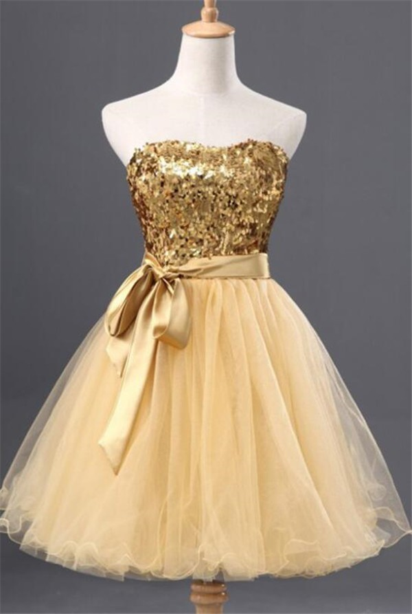 Ball Gown Strapless Short Gold Sequin Tulle Prom Dress ...