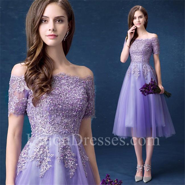 Cute Off The Shoulder Tea Length Lavender Tulle Lace ...