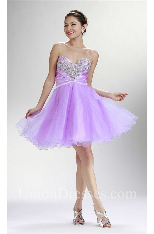 Fashion Strapless Short Lilac Tulle Beaded Cocktail Tutu ...