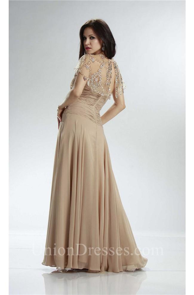Gorgeous Sheath Long Champagne Chiffon Evening Prom Dress ...