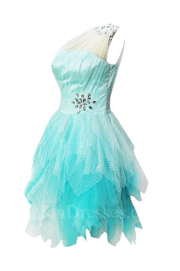 Short Tulle Floral Beaded Homecoming Dress With One