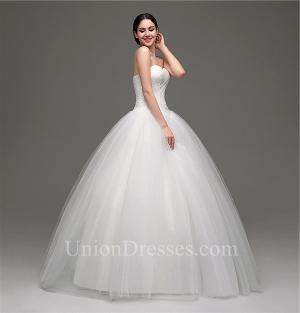 Puffy Ball Gown Sweetheart Drop Waist Tulle Lace Wedding