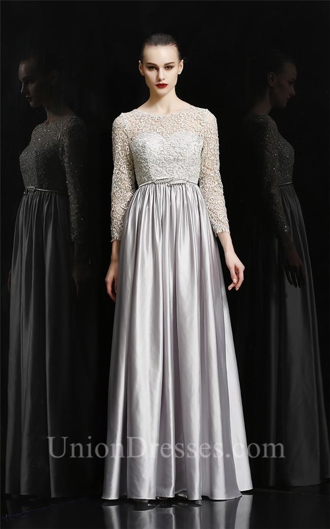 Sheath Bateau Neckline Long Silver Silk Evening Prom Dress ...