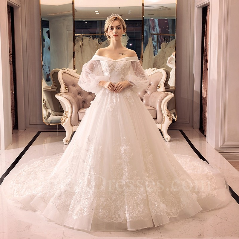 Ball Gown Off The Shoulder Long Sleeve Crystal Beaded Lace Tulle Wedding Dress