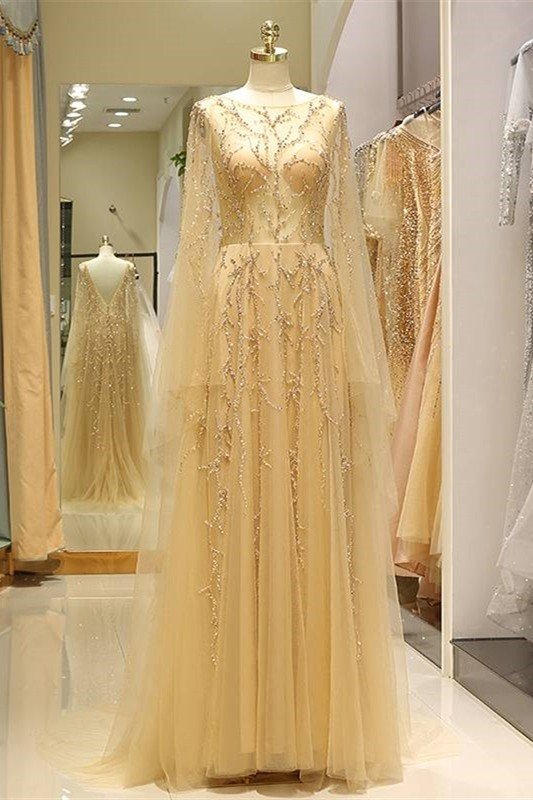 See Through Long A Line Gold Tulle Beaded Prom Evening ...