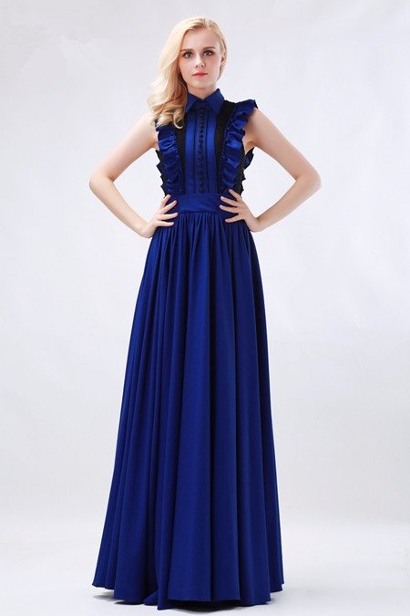 High neck evening dress with collar