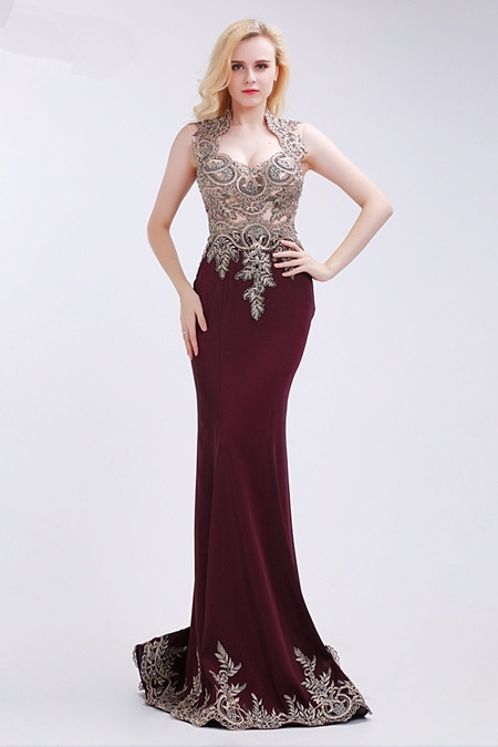 queen anne neckline evening dress